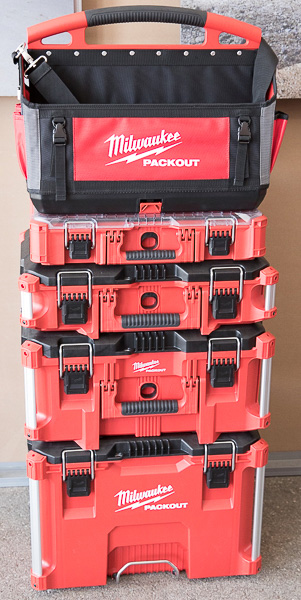 Milwaukee Packout Large Tool Bag with Tool Boxes Stack