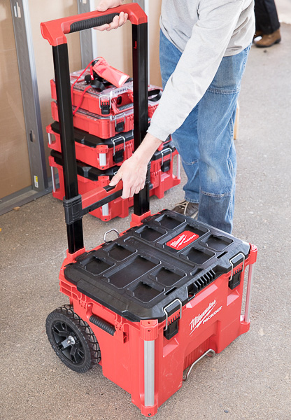 Milwaukee Packout Tool Storage Roller Tool Cart Two-Handed Handle Closure