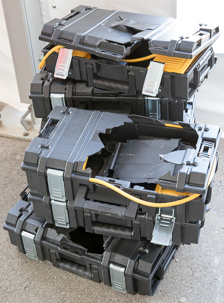 Exceptional Pile Of Smashed Dewalt ToughSystem Tool Boxes At Milwauke NPS17 Packout Demo