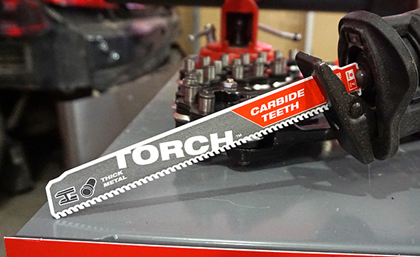 Torch with Carbide Teeth chucked into a Sawzall