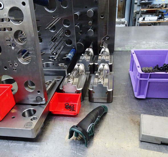 injection mold for tool grip at Metabo factory