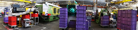 injection molding machines at Metabo factory
