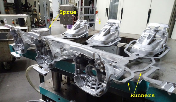sprue and runners on die cast parts at Metabo factory copy