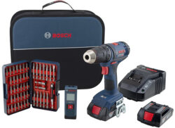 Bosch 18V Drill Kit with Bit Set and Laser Measurer Deal Bundle