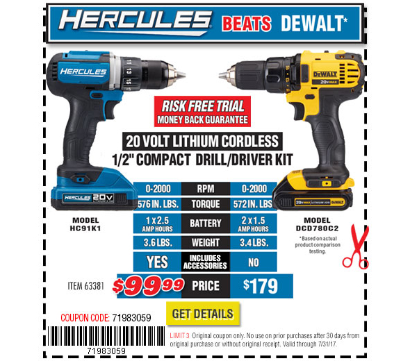 Harbor Freight Hercules Cordless Tool vs Dewalt harbor freight hercules 20v cordless tools  at cos-gaming.co