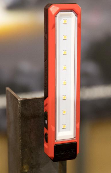 Milwaukee Rover USB Rechargeable LED Flashlight Mounted to Angle Iron