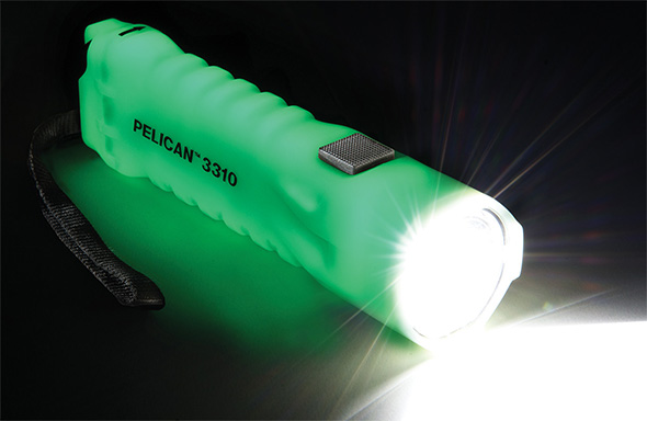 Pelican 3310 Glow in the Dark LED Flashlight Example Glowing