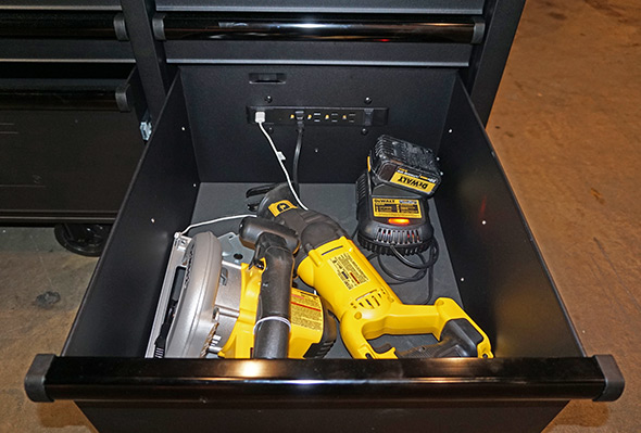 Dewalt rolling workbench with charging drawer