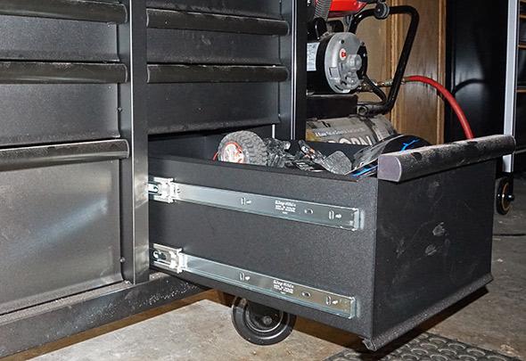 Husky Mobile Workbench dual slide bottom drawers