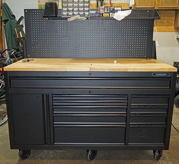 Review Husky 60 Mobile Workbench With Sliding Pegboard