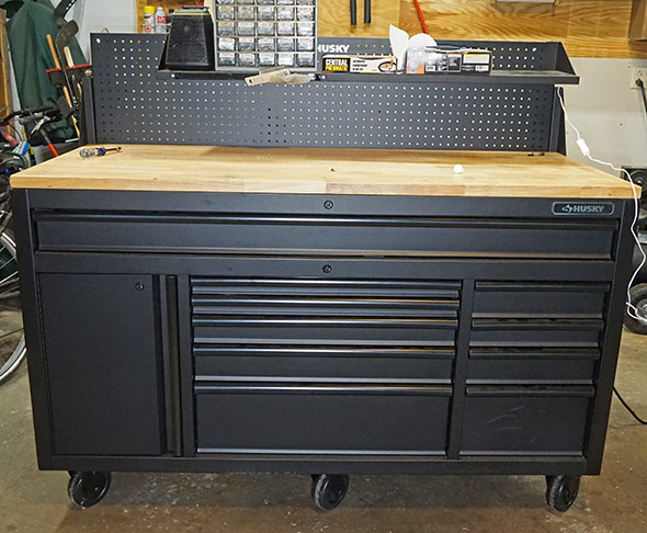 Husky Mobile Workbench pegboard at half height