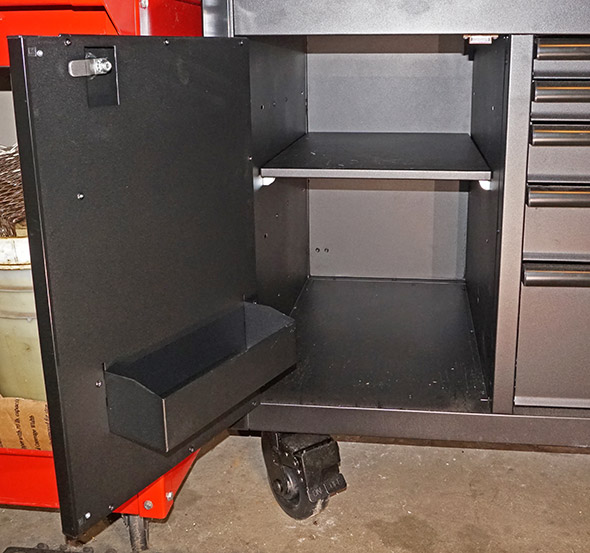 Husky Mobile Workbench storage area with shelves