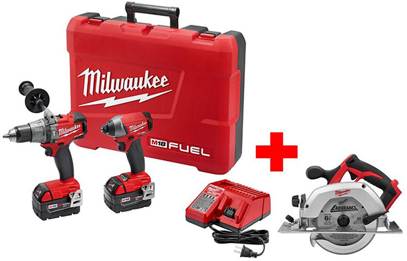 Milwaukee M18 FUEL Brushless Hammer Drill and Impact Combo Kit with Free Circular Saw