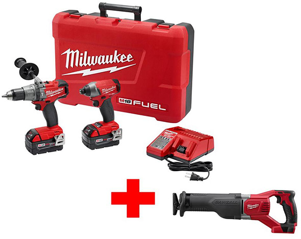 Milwaukee M18 FUEL Brushless Hammer Drill and Impact Combo Kit with Free M18 Sawzall