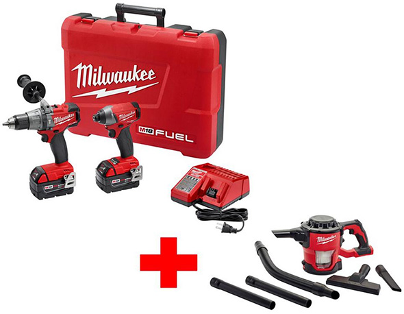 Milwaukee M18 FUEL Brushless Hammer Drill and Impact Combo Kit with Free M18 Vacuum