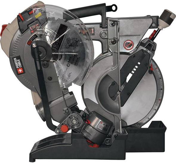 Porter Cable Folding Miter Saw in its Storage Dock