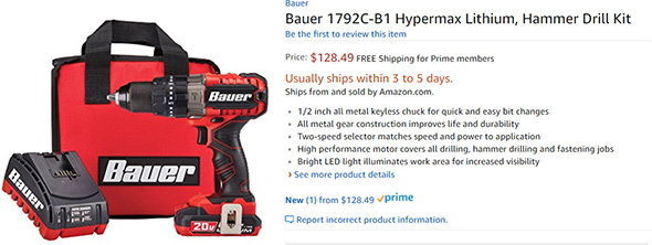 Amazon Bauer Cordless Hammer Drill Listing