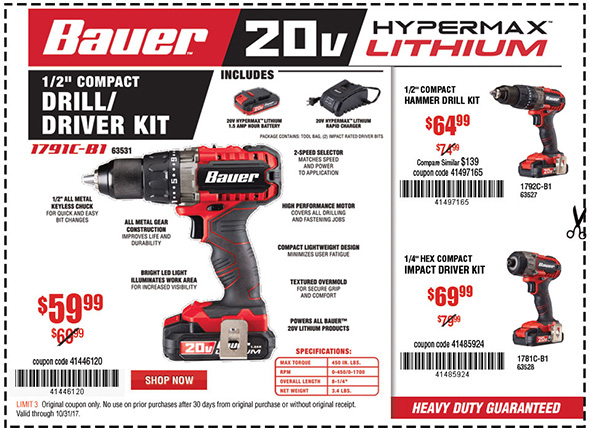 Harbor Freight Bauer Tool Coupons