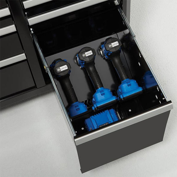 Kobalt Cordless Drill and Driver Holder in Tool Cabinet Drawer