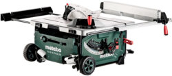 'World's Second-Ever Cordless Table Saw: Metabo 18V x 2 with 10″ Blade and Built-in Stand' from the web at 'http://toolguyd.com/blog/wp-content/uploads/2017/10/Metabo-Cordless-Table-Saw-with-Roller-Stand-Collapsed-250x111.jpg'