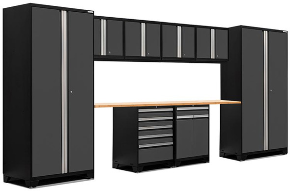 NewAge Products Pro 3 10pc Garage Cabinet Setup in Black and Grey
