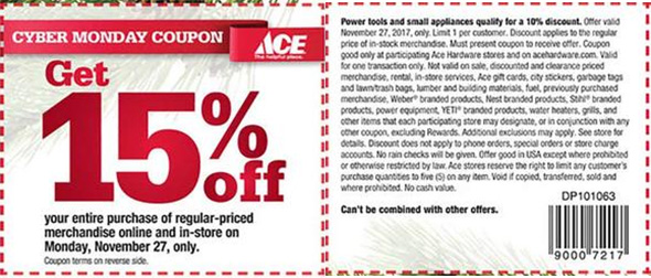 Ace Hardware Cyber Monday Coupon