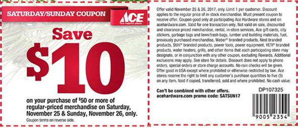 Ace Hardware Thanksgiving Weekend Coupon