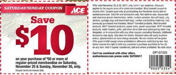Ace Hardware Thanksgiving Weekend Coupon