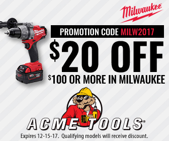 Acme Tools 20 off 100 Milwaukee Tools Coupon Holiday 2017