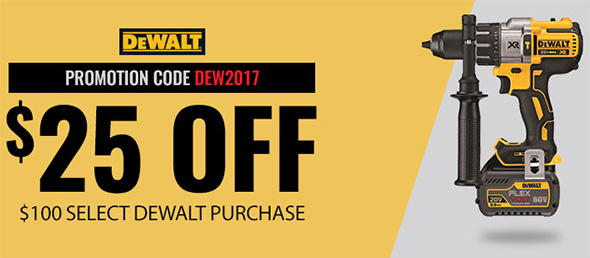 Acme Tools Dewalt 25 off 100 Holiday 2017 Banner