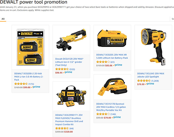 Amazon Dewalt Free Bonus Tool Combo Deal Holiday 2017