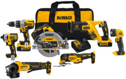 'Dewalt Brushless 7-Tool Cordless Combo Kit PRO Black Friday Deal' from the web at 'http://toolguyd.com/blog/wp-content/uploads/2017/11/Dewalt-20V-Max-Brushless-7-Tool-Promo-Combo-Kit-250x158.jpg'