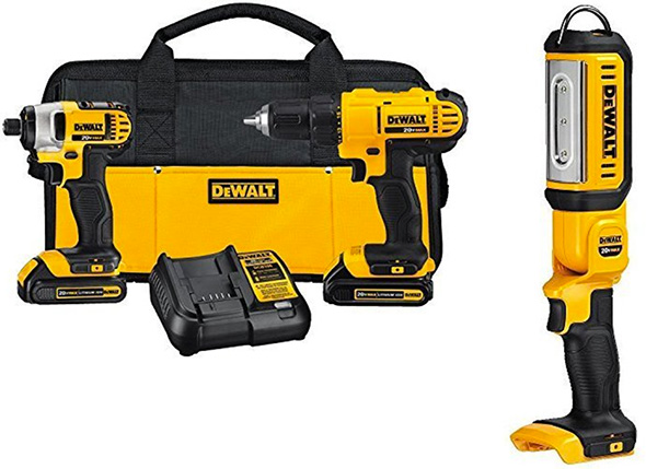 Dewalt Cordless Drill and Impact Driver Combo Kit with Free Flashlight