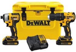 Dewalt DCK277C2 20V Brushless Drill and Impact Driver Kit with Rotomolded Cooler