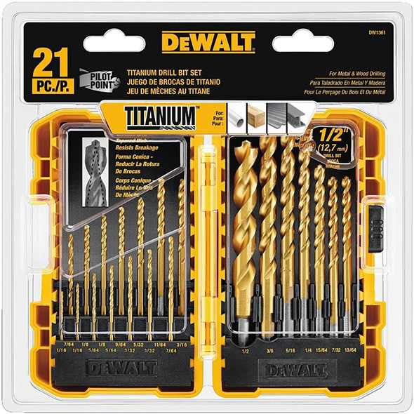 Dewalt DW1361 21pc Pilot Point Drill Bit Set