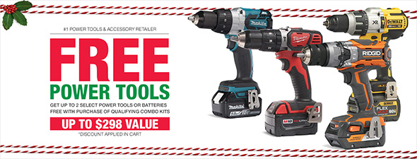 Home Depot 2017 Holiday Power Tool Free Bonus Deal Banner