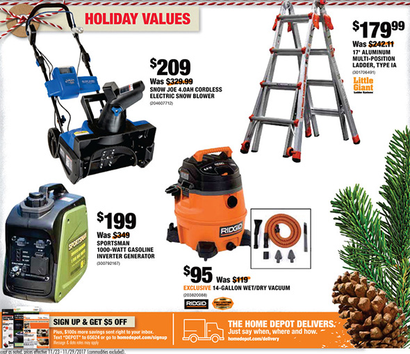 Home Depot Black Friday 2017 Online Only Specials Live Now