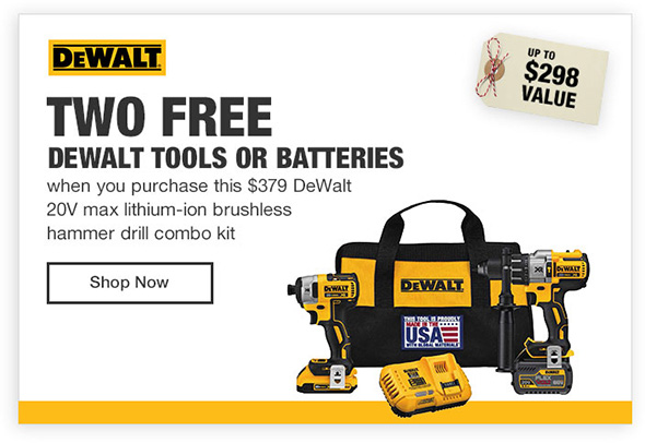 Home Depot Dewalt 2 Free Power Tools Promo Banner Holiday 2017