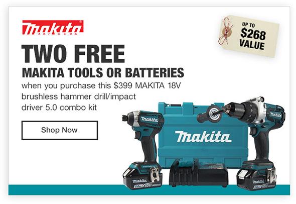 Home Depot Makita 2 Free Power Tools Promo Banner Holiday 2017