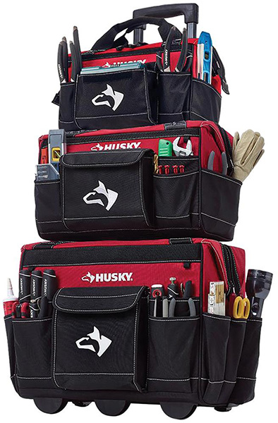 Husky 3pc Rolling Tool Tote Bag Set