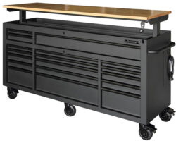 'New Husky Mobile Workbench is Larger, with More Drawers and Adjustable Height Top' from the web at 'http://toolguyd.com/blog/wp-content/uploads/2017/11/Husky-72-inch-Adjustable-Height-Mobile-Workbench-with-Raised-Top-250x200.jpg'