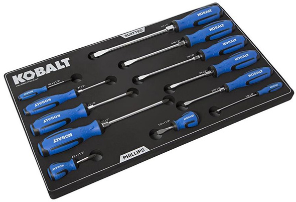 Kobalt 12pc Screwdriver Set in Fitted Foam Tool Box Tray