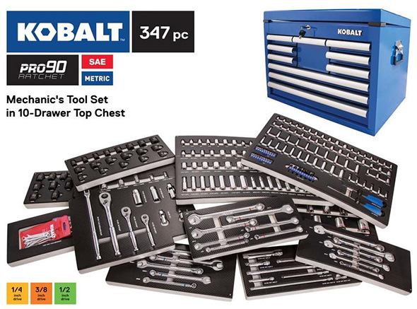 Kobalt 347pc Mechanics Tool Set with Foam Trays and Pro90 Ratchet