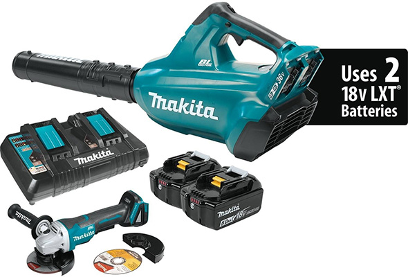Makita 18V X2 Blower Kit with Bonus Grinder
