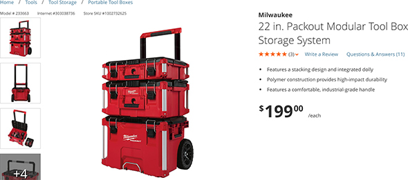 Milwaukee Home Depot Packout Combo Price