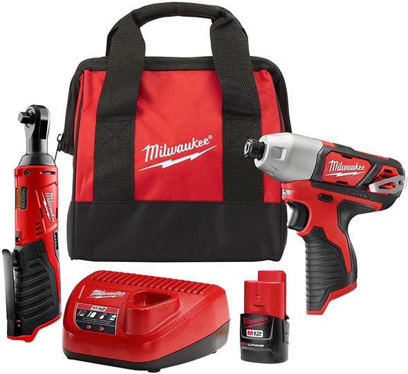 Milwaukee M12 Impact Driver and Ratchet Special Combo Set