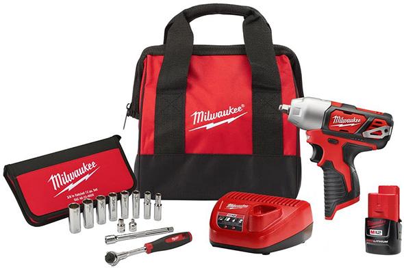 Milwaukee M12 Impact Wrench and Hand Ratchet Socket Set Combo Set