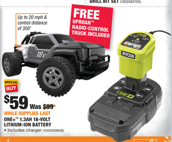Ryobo Battery and Charger Starter Kit with FREE Radio Controlled Truck