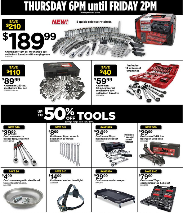 Sears Black Friday 2017 Tool Deals Page 2
