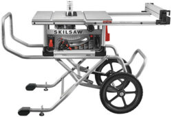 'New Skilsaw Heavy Duty Worm Drive Saw with Giant-Wheeled Rolling Stand' from the web at 'http://toolguyd.com/blog/wp-content/uploads/2017/11/Skilsaw-SPT99-Worm-Drive-Table-Saw-with-Large-Roller-Stand-250x171.jpg'